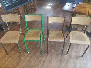 Vintage School Chairs, Retro, Café, Bar. Various Colours. Old School.