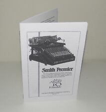 Smith Premier 10 Typewriter Instruction Manual Reproduction