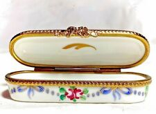 Limoges France French Small Signed Needle Trinket Box Peint Main Limoge Roses