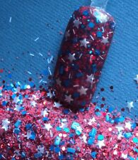 glitter mix nail art acrylic gel  WONDER WOMAN 4th of july red white and blue