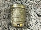 Russian Federation Stainless Steel Engraved Shot Glass w Russian Coin on bottom