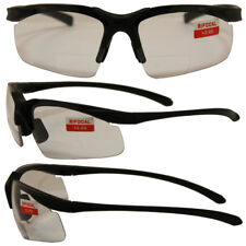 Apex Bifocal Safety Glasses with 2.0x Magnifying Clear Lenses and Black Frame