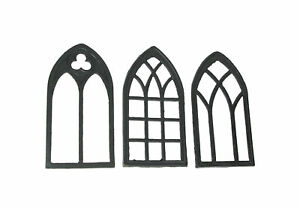 Set of 3 Black Cast Iron Gothic Cathedral Window Decorative Wall Hangings