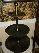 LARGE 3 TIER HANDMADE SOLID BRASS TABLE........CONVERSATION PIECE!