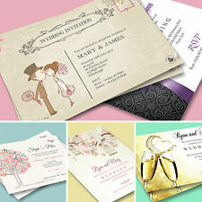 100 Wedding Invitations, Invites, Personalised Day or Evening + Free Envelopes
