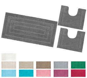 Tappeto bagno 100% cotone parure set 3 pezzi morbido soffice antiscivolo assorbe
