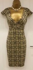 Karen Millen Silk Empire Line Plunging Buckle Patterned Dress Beige Taupe UK 10