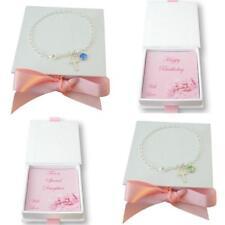 Sterling Silver Charm Bracelet with Cross & Birthstone, Christening Baptism etc
