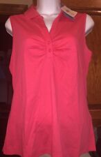 NWT Women's Sleeveless Golf Shirt Top EP Pro Liquid Cotton - Strawberry- So Soft