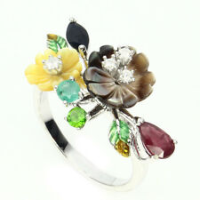 Sublime Ruby Diopside Emerald Sapphire Mop Cz 925 Sterling Silver Flower Ring 7