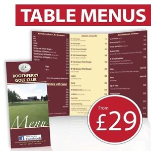 Restaurant Table Menus printed full colour 2-sided A3, A4, A5 option to laminate