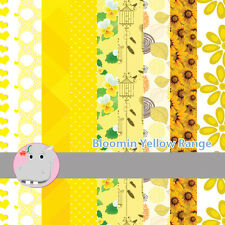 18 Patterned Paper Sq 140mm -Craft Paper Scrapbooking Cards - Bloomin Yellow