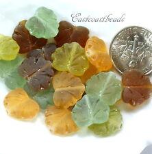 Maple Leaf Beads,13mm, Amber, Aqua, Olive w/Frosted Finish,  Czech Glass, 20 Pcs