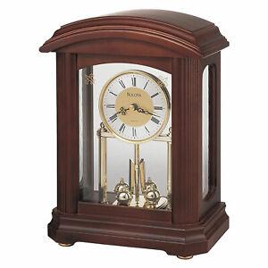 Bulova B1848 Nordale Tabletop Hardwood Mantel Desk Clock with Pendulum, Walnut