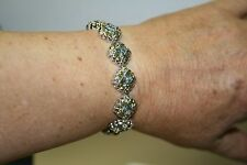 "STERLING SWISS BLUE TOPAZ AND PERIDOT FLOWER BRACELET 7.5"" 18CTW 35.24G NEW b"