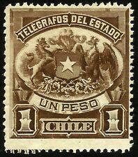 CHILE, TELEGRAPH STAMP, 1 PESO, YEAR 1883, MNH