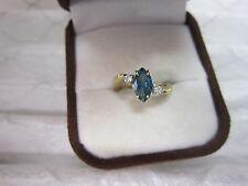GORGEOUS ESTATE 14 KT GOLD .79 CTW VIVID BLUE DIAMOND RING !!!!!!!!!!!!