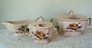 Vintage Ceramic Lidded Dishes and Gravy Boat Pink with Floral Design 5 Piece Set