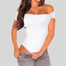 Women Sexy Off Shoulder Bodysuit Stretchy Short Sleeve T-shirt Jumpsuit Leotard