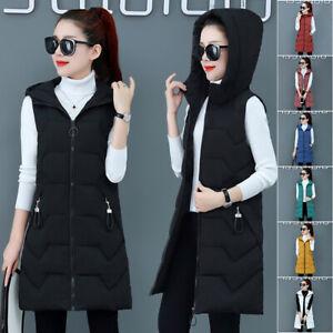 Ladies Womens New Hooded Long Line Puffer Gilet Jacket Padded Warmer UK S - XL