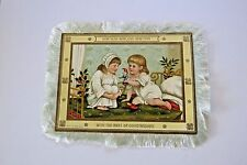 "Precious Vintage ""New Year"" Card w/Two Little Girls w/ Real Silk Like Fringe  *"