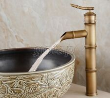 Antique Brass Bathroom Bamboo Style Single Hole Vessel Sink Faucet Mixer Tap