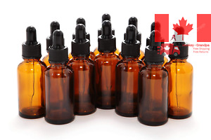 12, Amber, 1 oz Glass Bottles, with Glass Eye Droppers