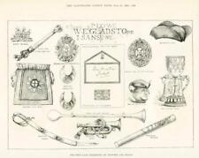 1891 Antique Print - BERKSHIRE ETON PICTURE RELICS MONTEM SALT BAG BATON (036)