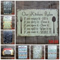 Kitchen Rules Tin Sign Retro Cafe Hanging signs can do it Wall Plaque Home Decor