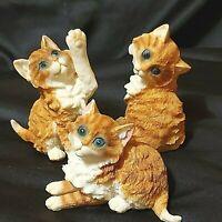"""Vintage Orange/White Tabby Kittens Blue Eyes Ceramic 3-1/2"""" Lot of 3 Preowned"""