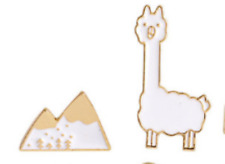 LAMA and SNOWY Mountains, group of 2, cute enamel pins, badges
