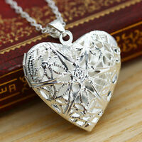 Women's Amazing Silver Plated Locket Hollow Heart Photo Pendant Chain Necklace