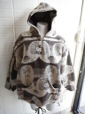 Ethnic Inca Sun God Ecuador Boho Wool Pull Over Blanket Jacket with hood sz M