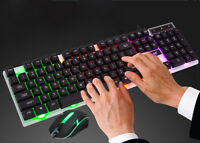 LED Rainbow Colors Backlight Adjustable Gaming USB Wired Keyboard Mouse Set