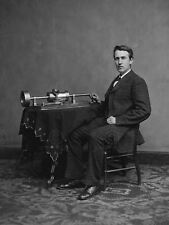 VINTAGE PHOTO EDISON PHONOGRAPH SCIENCE SOUND INVENTION COOL POSTER LV11323