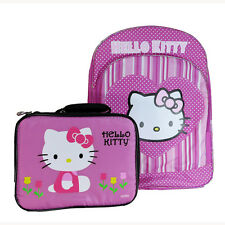NEW Pink Hello Kitty School Bookbag Backpack & Insulated Thermos Lunch Bag Set