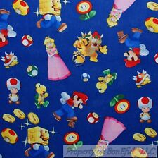 BonEful FABRIC Cotton Quilt VTG Blue Bright Red White Super Mario Game Boy SCRAP