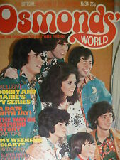 OSMONDS WORLD MAGAZINE - ISSUE 34 AUGUST 1976 - (INC DONNY OSMOND POSTER)