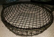 Farmhouse Metal Chicken Wire Easter Egg Round Basket Handle Rustic 8""
