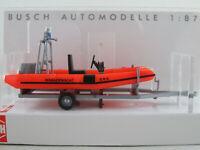 """Busch 59957 Anhänger mit DSB 510-Motorboot """"BRK Wasserwacht"""" 1:87/H0 NEU/OVP"""