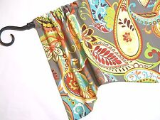 "MN~Whimsy~PAISLEY~Gray~Red~Orange~Teal~VALANCE~Topper~Curtains~11 1/2"" x 42"""