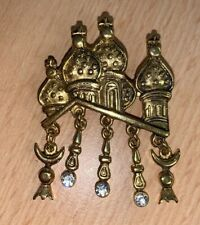 Beautiful Mosque Temple Brooch with Glitter Stones In Good Colour