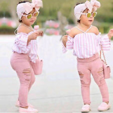 Baby Kids Girls Off-shoulder Shirt T-shirt Tops Casual Stripe Pants Clothes