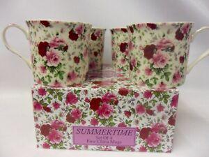 Set of 4 gift boxed Summertime chintz design fine china palace mugs