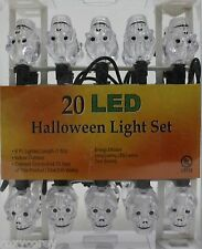 Halloween 20 Clear Skull LED Light Set Black Wire Lighted Length 6 ft NIB