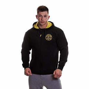Gold's Gym GGSWT007 Mnes Muscle Joe Contrast Sweater Workout Training Full Zip S