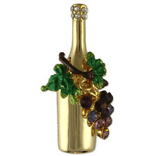 GOLD PLATED CRYSTAL WINE BOTTLE GRAPES BROOCH PIN MADE WITH SWAROVSKI ELEMENTS