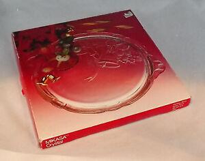 """Vintage Mikasa Crystal Christmas Holiday Bells 11"""" Cake Plate RC197/310"""