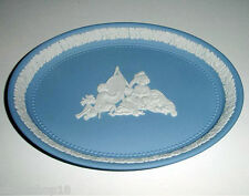Wedgwood Infant Academy Oval Tray Blue Jasperware White Bas-relief Made/UK New