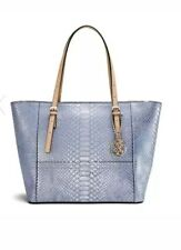 GUESS Classic Medium Tote Handbag Purse Python Embossed Metallic Lilaque